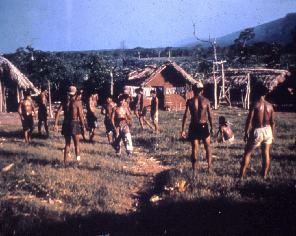 Ayoré men - older men against younger men playing Touch.