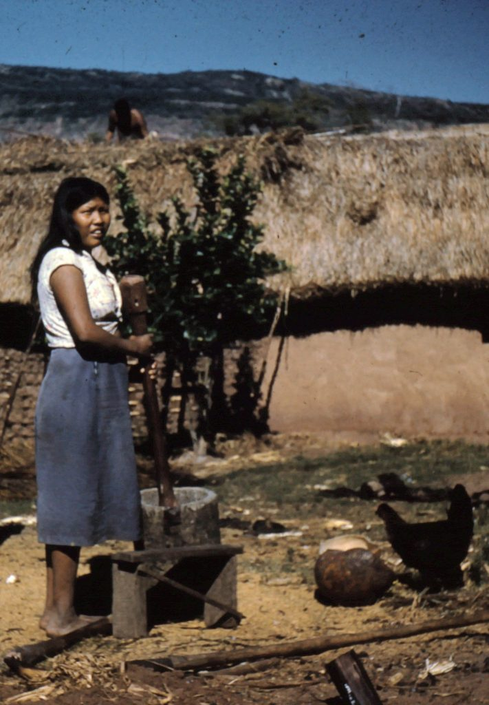 Ayoré woman - mortar and pestle.