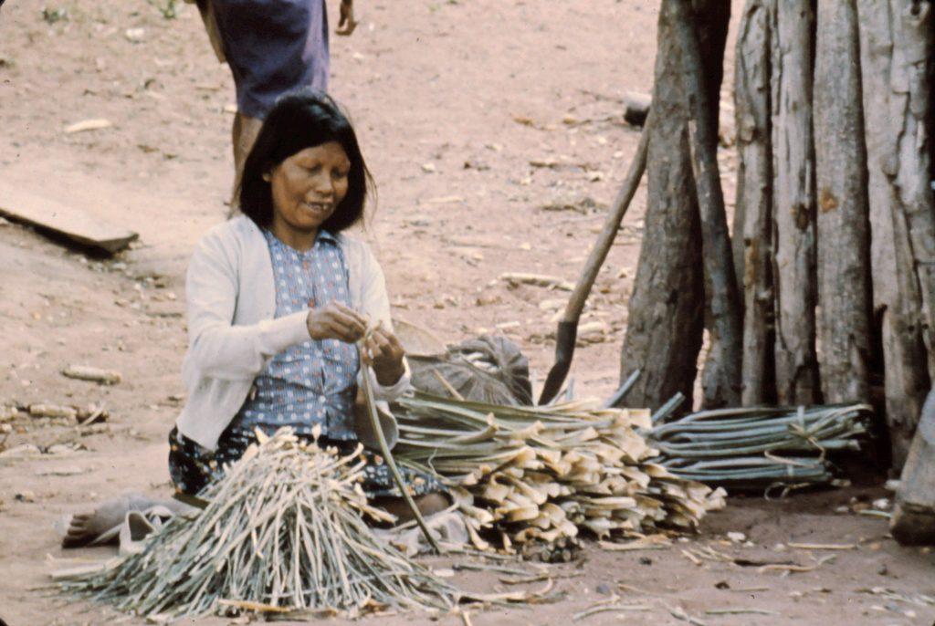 Ayoré woman preparing to dry 'garabatá leaves' to make fiber for spinning thread for weavings.