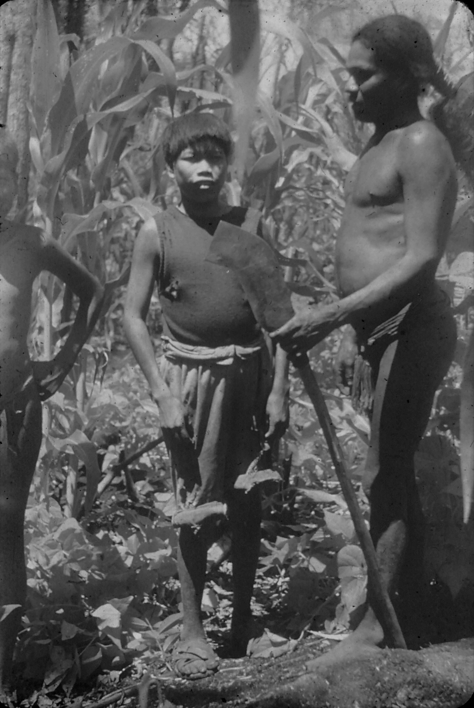 Ayore Man and boy with macana