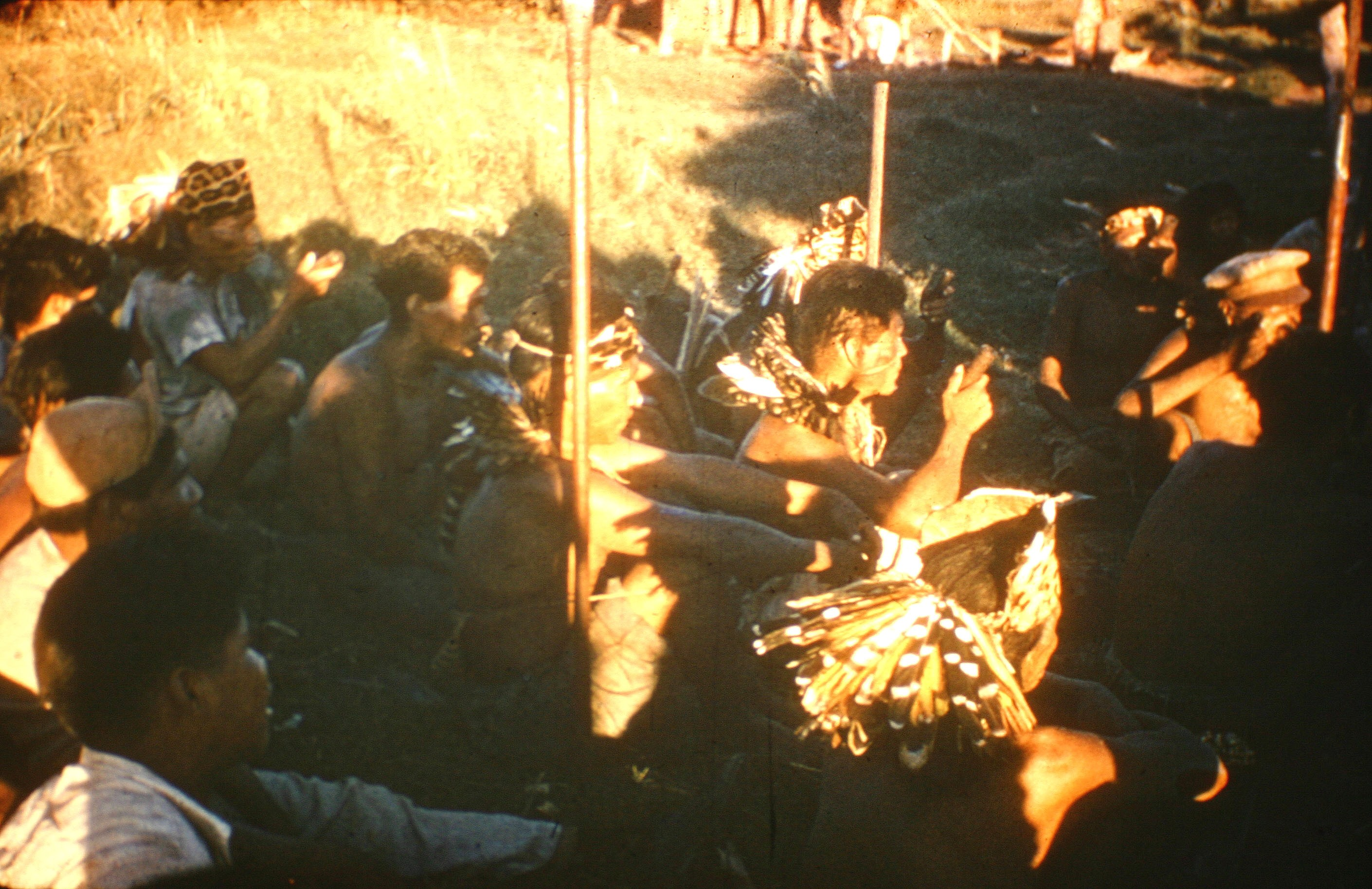 Ayore men 'pow-wowing' with pipes, headdresses, facial markings and lances.
